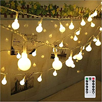 33Ft Indoor/Outdoor String Lights Battery Powered 100 LED Globe String Lights Waterproof Starry Lights with Remote & Timer Hanging Lights String for Wedding Patio Garden Party Xmas Tree, Warm White