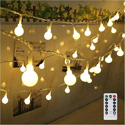 String Lights Battery Powered 100 LED Globe String Lights Waterproof Starry Lights with Remote & Timer Hanging Lights String for Wedding Patio Garden Party Xmas Tree, Warm White ()