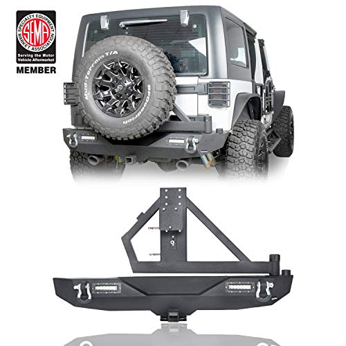 Hooke Road Different Trail Rear Bumper Model A w/ 2X 18W LED Accent Lights & Tire Carrier for 07-18 Jeep Wrangler & Wrangler Unlimited JK ()