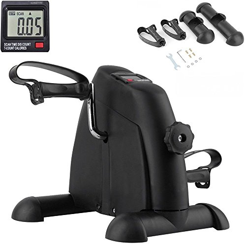 Fitness Pedal Exerciser with LCD Display Resistance Adjustable| Mini Magnetic Stationary Bike Leg Arm Exercise Cycle Machine Safe Sturdy for Fitness Workout Calories Burn Indoor Home Gym Health Black by Schmidt Designs