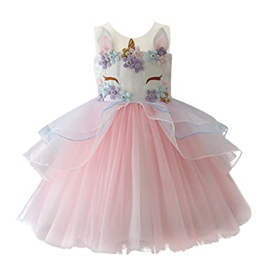 35a1b11ac8 IWEMEK Kids Toddler Girls Princess Dress Unicorn Cosplay Sleeveless Tulle  Tutu Dress Wedding Birthday Halloween Christmas Party Pageant Carnival Gown  ...