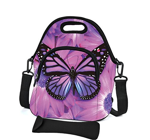 Insulated Neoprene Lunch Bag with Cutlery Kit Case For Knife,Fork,Spoon- Removable Shoulder Strap - Extra Pocket-Reusable Thermal Lunch Tote/Lunch Box/Bag For Women,Men,Kids,Adults (Purple Butterfly)
