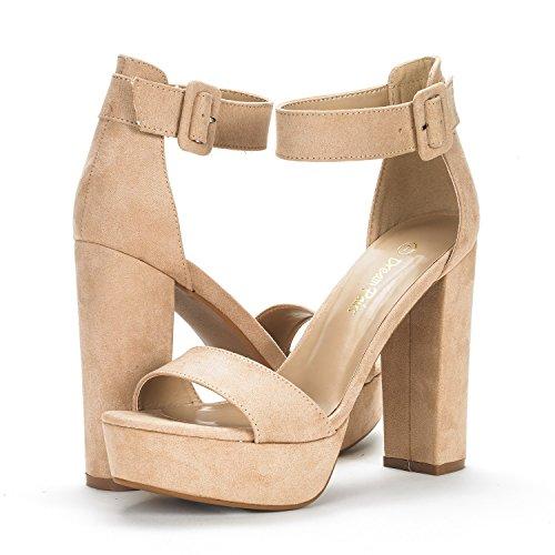 DREAM PAIRS Womens Hi-Lo High Heel Platform Pump Sandals Nude Suede Qp3VtU