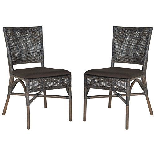 Safavieh Home Collection Capri Dark Side Chair, Dark Brown, Set of 2