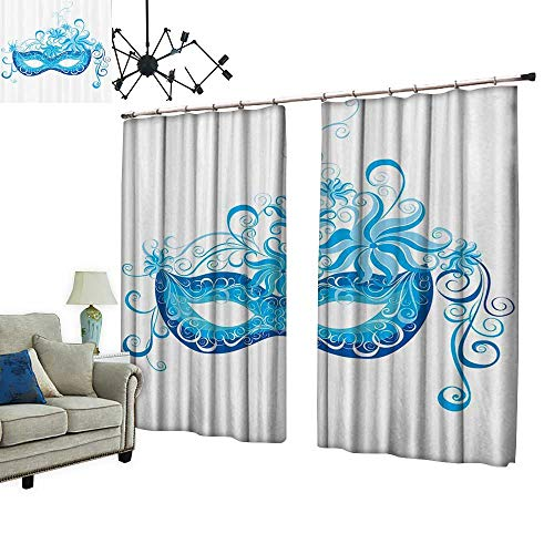 PRUNUS Window Curtain Drape with Hook Venetian Mask Majestic Impersating Enjoying Halloween Theme Available in a Variety of Colors,W108 -
