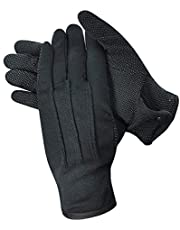 Parade Gloves Cotton Women Men Gloves with Grip, Non-Slip Gloves, Formal Marching Uniform Gloves with Snap Cuff 3 Pairs, Black