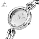 SK Fashion Women Wrist Watches Elegant Bracelet Band Lady Crystal Quartz Wristwatch For Girl Silver 2017