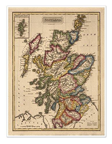 (Elegant Map of SCOTLAND circa 1822 - measures 24