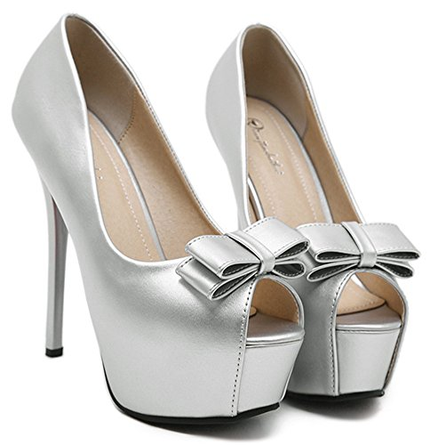 IDIFU Womens Sweet Peep Toe Low Top Slip On Sandals Platform High Stiletto Heels Pumps Shoes With Bow Silver bzulqrIs3