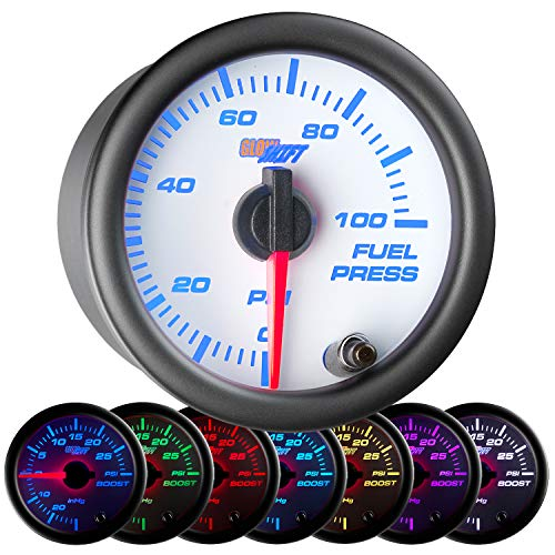 GlowShift White 7 Color 100 PSI Fuel Pressure Gauge Kit - Includes Electronic Sensor - White Dial - Clear Lens - For Car & Truck - 2-1/16