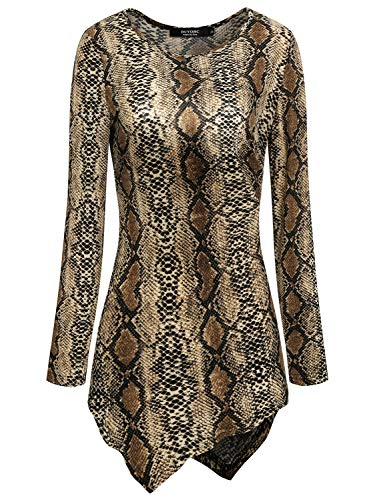 Snakeskin Top Print (IF.U live Snakeskin Print Tops,Women Long Sleeve Asymmetrical Shirts Hankerchief Hemline Tunic Top 2X-Large)