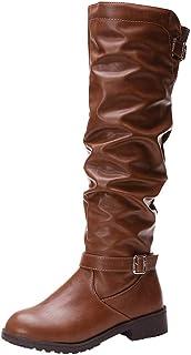 Tefamore Femmes en Cuir Fermeture à glissière Bout Rond Bottes Cuissardes Chaussures Bottes
