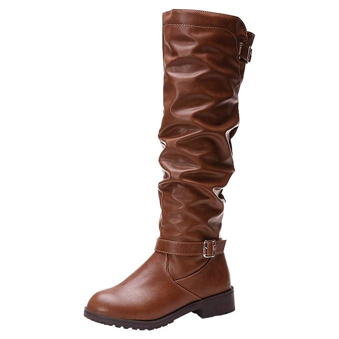 ZARLLE_Botas Mujer Cuero Tacón Bloque Mujer Botas Ante Tacón Plano Largo Botas Altas Otoño Zapatillas de Moda Botas Altas Zapatos de Señoras Botines Calzado ...