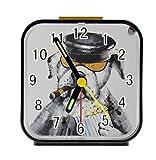 Bernie Gresham Cool Bulldog Watching Movie Personalized custom alarm clock for children bedroom Custom Square Black Alarm Clock
