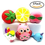 6 Packs of Squishies Jumbo Animal and Fruit Slow Rising Unicorn Whale Horse Owl Strawberry Peach Lemon Toys Scented Stress Reliever Soft Squishy Animal Fruit Toys Decorations Present for Kids Adults by Duperym