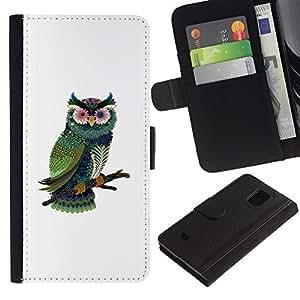 ARTCO Cases - Samsung Galaxy S5 Mini, SM-G800, NOT S5 REGULAR! - Cute Psychedelic Owl - Cuero PU Delgado caso Billetera cubierta Shell Armor Funda Case Cover Wallet Credit Card