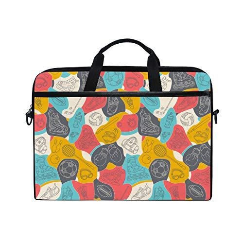 PENGTU 15-15.4 Inch Laptop Bag Seamless Colorfull Sport Pattern Background Set Shoulder Messenger Bags Sleeve Case Tablet Briefcase with Handle Strap