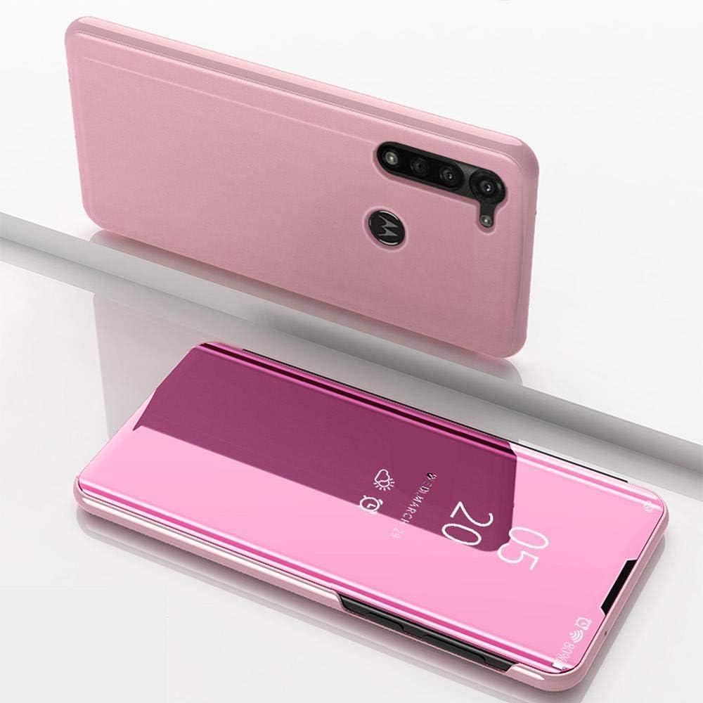 WINMI Para Motorola Moto G8 Power Funda,Transl/úcido Elegante 360 /°Complete Protection Espejo Brillante Standing Mirror Flip Funda para Motorola Moto G8 Power-Oro Rosa