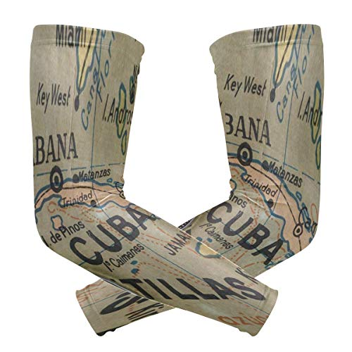 Arm Sleeves Old America Map Compass Womens Baseball Long Cooling Sleeves Sun UV Compression Arm Covers