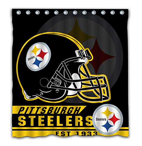 Felikey Custom Pittsburgh Steelers Waterproof Shower Curtain with Color Bathroom Decoration Size of 66x72 Inches