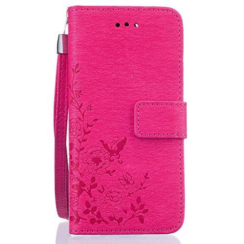 Voguecase® Pour Apple iPhone 6/6s 4,7 Coque, Etui Housse Cuir Portefeuille Case Cover (Papillon III-Rose)de Gratuit stylet l'écran aléatoire universelle