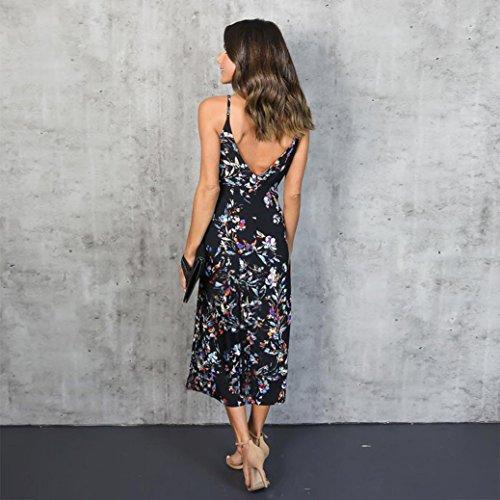 Fulltime® Femmes V Neck Boho Long Maxi soirée Beach Party Robe florale robe d'été
