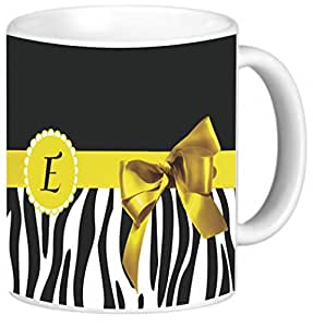 "Rikki Knight Yellow Zebra Bow Monogram Design Photo Quality Ceramic Coffee Mug, 11-Ounce, Letter ""E"""