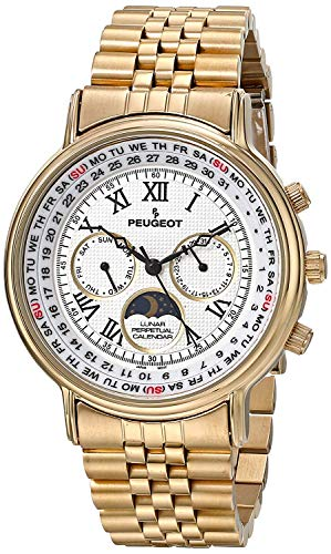 Peugeot Vintage Multi-Function Watch, Perpetual Calendar with Moon Phase, Gold Bracelet ()
