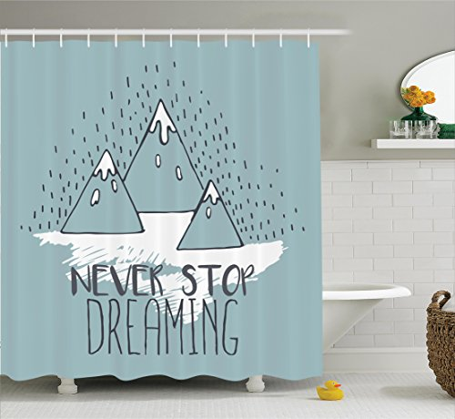 Mountain Bathroom Tub (Quotes Decor Shower Curtain Set by Ambesonne, Mountain Peaks Never Stop Dreaming Goal Success Aspiration Theme Office Decoration, Bathroom Accessories, 75 Inches Long, Turquoise)