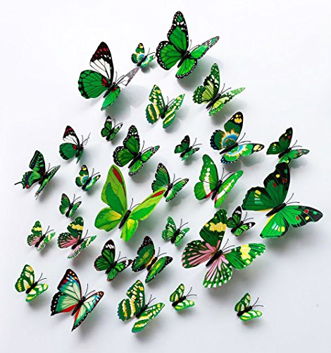 FLY SPRAY 24 Pcs 3D Artificial Green Butterfly Removable Mural Wall Stickers Wall Decal For Home Decor Nursery (Resin Forest Face)