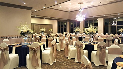 (SPRINGROSE 100 Ecoluxe Ivory Spandex Stretch Banquet Chair Covers | Sleek, Resilient Polyester & Elastic Spandex Wedding, Bridal Showers, Anniversary Party, Receptions, Celebrations, More)