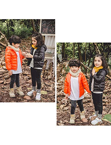Hooded Windproof Winter Lightweight Orange Jacket BESBOMIG Girls Outerwear Jacket Unisex Down Boys Thin Coats Warm Kids Zipper pT5xqS