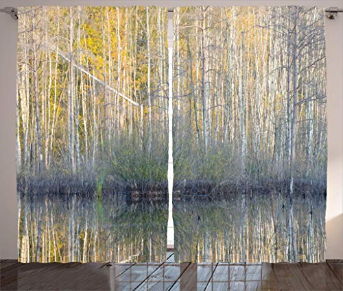 Ambesonne Lake House Decor Collection, Authentic View of Forest with Thin Tall Trees by the Lake Fall Scenery Nature Print, Living Room Bedroom Curtain 2 Panels Set, 108 X 90 Inches, Brown Yellow