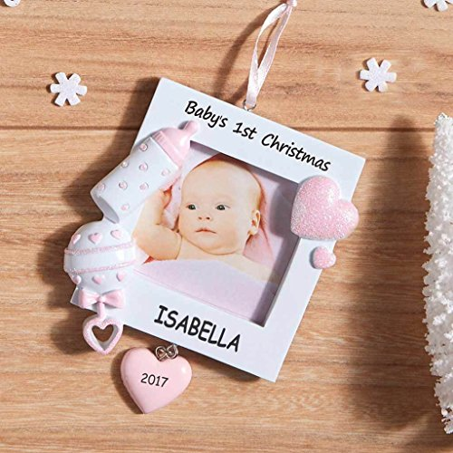 Personalized christmas ornaments amazon personalized photo frame baby christmas ornament pink negle Gallery