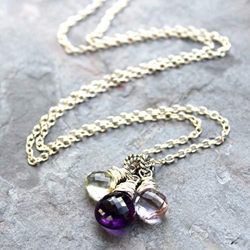 - Amethyst Necklace Sterling Silver Multi Gemstone Pendants Purple Green Pink - Pick your length