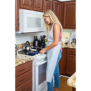 Green Direct Plastic Reusable/Disposable Heavy Duty Poly Aprons - woman at stove