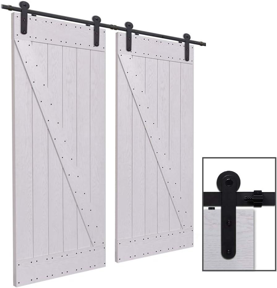 CCJH 12.6FT-383cm Herraje para Puerta Corredera Kit de Accesorios para Puertas Correderas Rueda Riel Juego para Dos Puertas de Madera: Amazon.es: Bricolaje y herramientas
