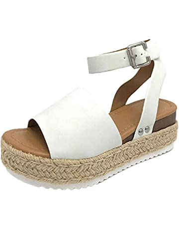 7bac2cf34c9 Casual Women s Rubber Sole Studded Wedge Buckle Ankle Strap Open Toe Sandals