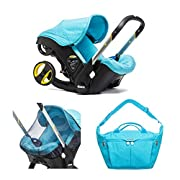Doona Infant Car Seat Bundle with All Day Bag & Insect Net - Turquoise/Sky