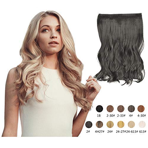 Halo Hair Extensions 20 Inch Long Natural Curly Wavy Synthetic Hairpiece Flip in Hidden Wired Hair Pieces for Women (2#)