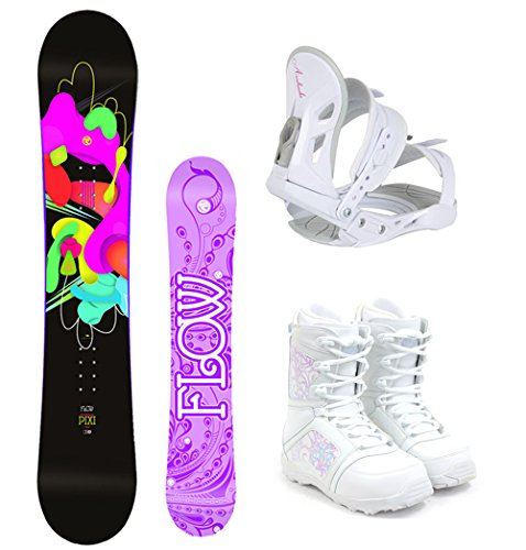 Flow 2017 Pixi Women's Complete Snowboard Package Avalanche Bindings M3 Boots - Board Size 144 (Boot Size 7)