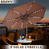 Cheap Strong Camel Outdoor Patio Umbrella with Tilt and Solar Powered 40 LED Lights, 9-Feet (BROWN)