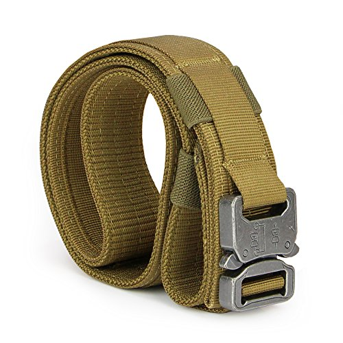 Aiduy Men's 1.5″ Security Tactical Belt Heavy Duty Rescue Belt with Metal Buckle Molle System Military Style Belt Nylon Belts (Coyote Brown, Large)