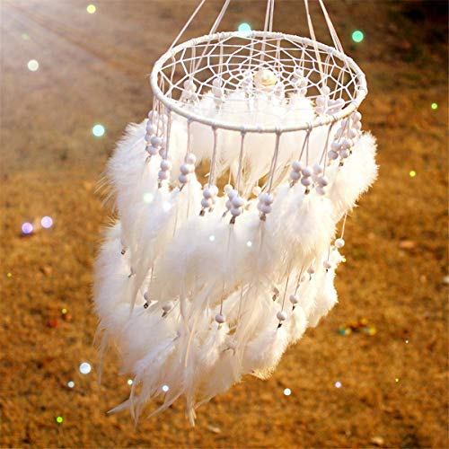 ARHSSZY 100% Handmade Indian Hanging Fluffy White Feather Pearl Lantern Dreamcatcher Wind Chimes Pendant Dream Catcher Wedding Supplies Home Decor Car Pendant (Approx Length 19.6