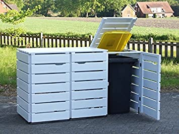 3/Bin Store Double Wheelie Bin Screen 120 L Oiled Wooden Opaque White & 3/Bin Store Double Wheelie Bin Screen 120 L Oiled Wooden Opaque ...