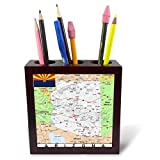 3dRose Topo Maps and Flags of States - Image of Arizona Topographic Map with State Flag - 5 inch Tile Pen Holder (ph_290286_1)