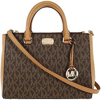 17b78f7259 ... spain michael kors kellen medium satchel crossbody bag brown pvc ab64a  0a223