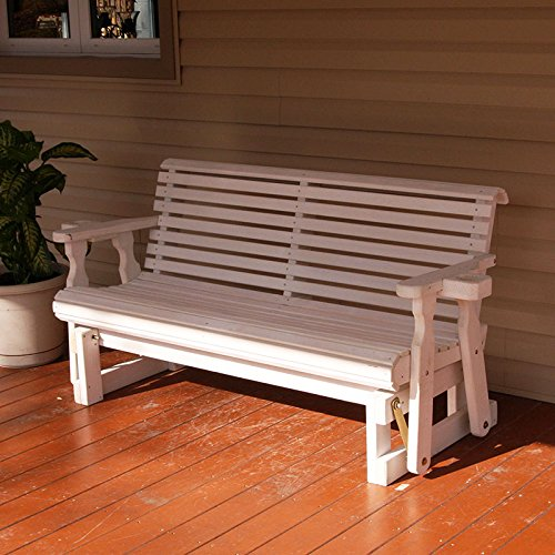 Back 4' Glider Bench (Cafe Amish Heavy Duty 800 Lb Roll Back Pressure Treated Porch Glider With Cupholders (4 Foot, Semi-Solid White Stain))