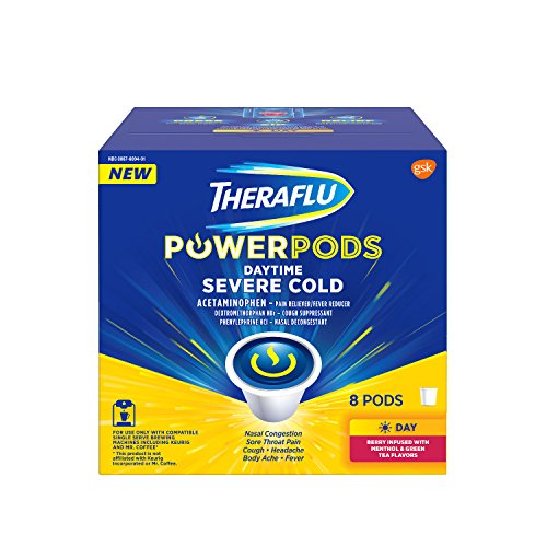 Theraflu PowerPods Daytime Severe Cold Medicine, Berry with Menthol & Green Tea Flavors, 8 count