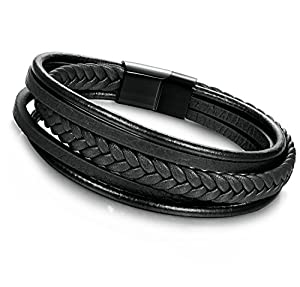 Jstyle Braided Leather Bracelet for Men Bangle Wrap Stainless Steel Magnetic-Clasp 7.5-8.5 Inch